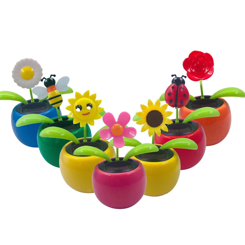 225 & Solar Powered Dancing Flower Toy Head Nodding Toys Figure Car Office Home Decor