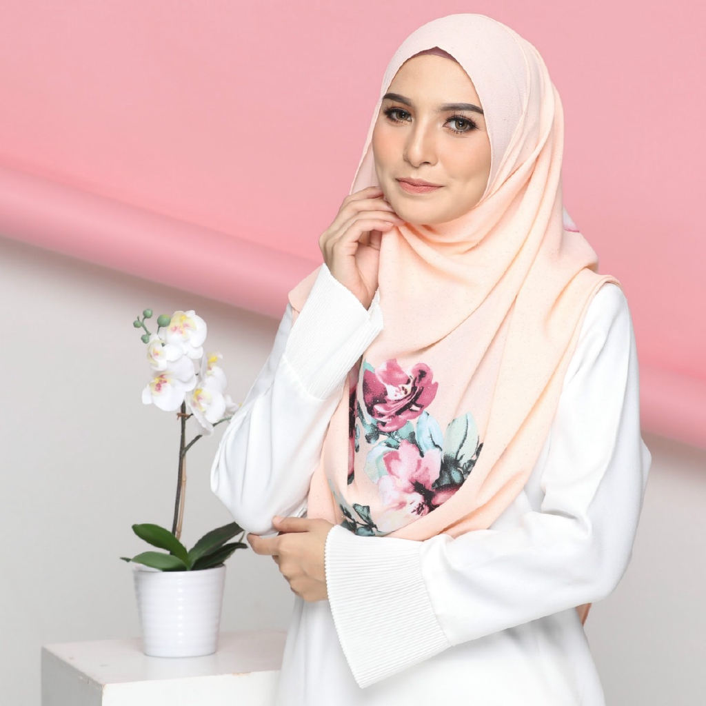 COLOURFUL FLORA WITH CORAK SHAWL INSTANT 2LOOP PEACH