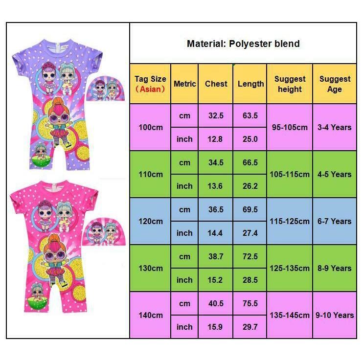 Lol Surprise Dolls Girls Swimwear Polka Dot Swimming Costume Surf Suit with Cap