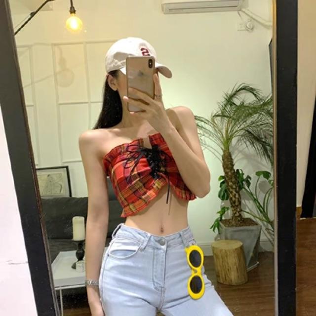 [S~L]Summer Fashion short tube top 夏季新款时尚气质百搭上衣休闲格子露脐黄色抹胸背心外穿女装
