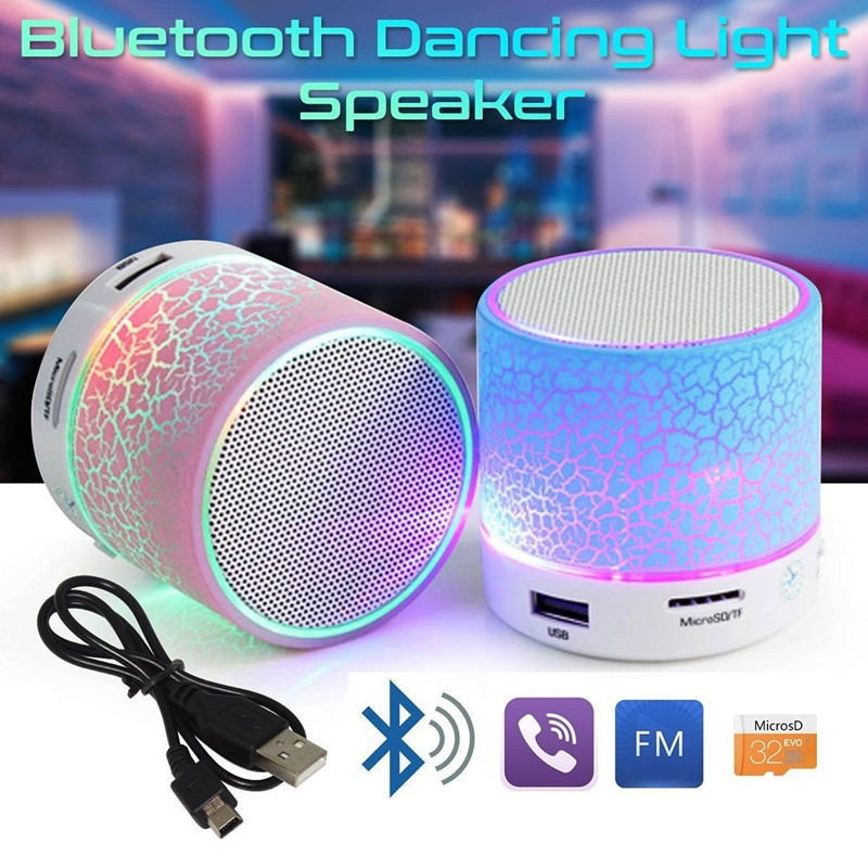 Speaker LED Portable Mini Bluetooth Wireless Speaker with USB and TF Port