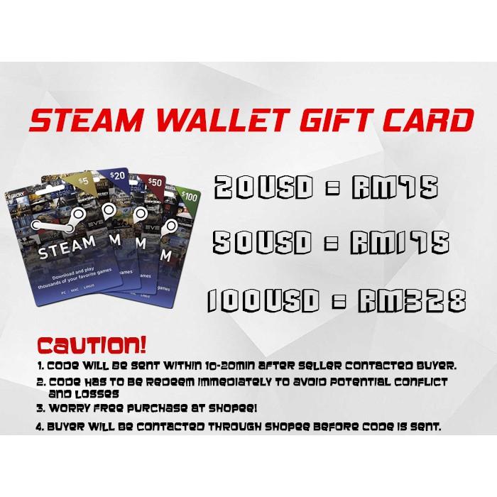 Steam Wallet Code Gift Card 20/50/100 US$