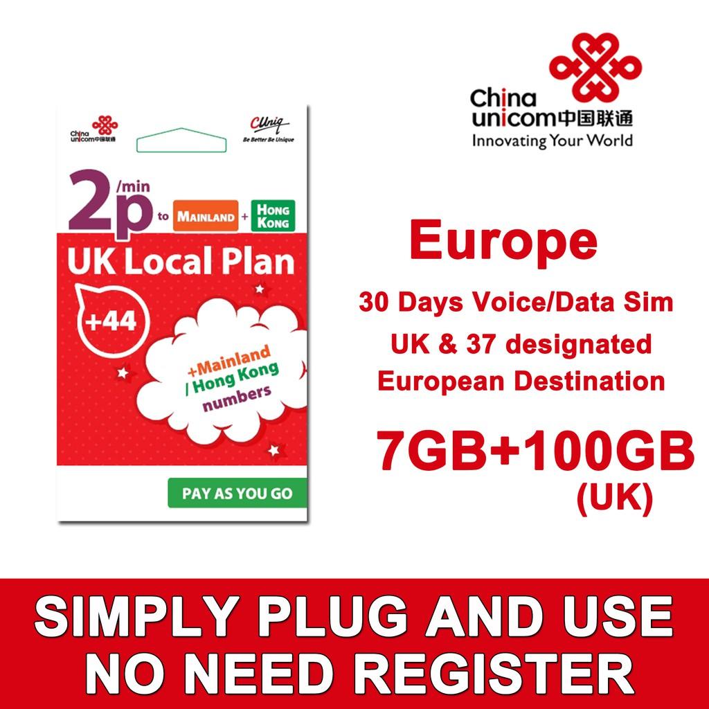 UK Europe Travel Sim Card