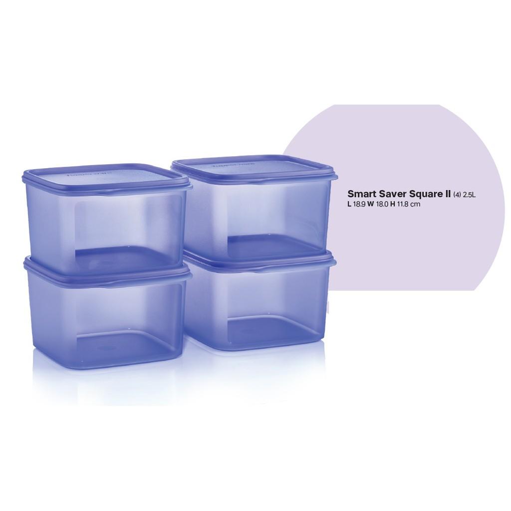 Blue Food Container 2.5L (4pcs) Smart Saver Square II Tupperware