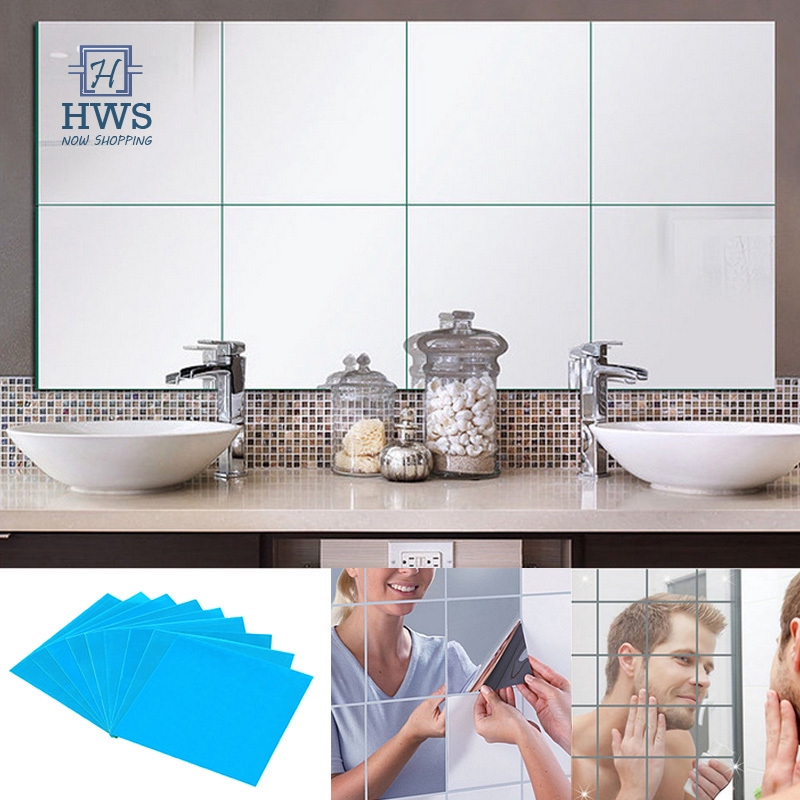32PCS Mirror Tiles Self Adhesive Back Round Wall Sticker Home Bedroom Wall Decor