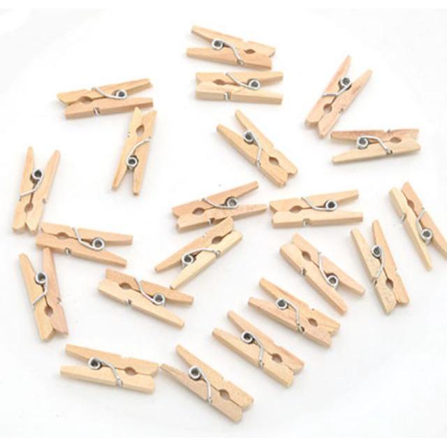 25 pcs Wooden Clip 3.5cm Wooden / Colourful , Pengepit Kayu 3.5cm Warna Kayu / Warna Warni (25 pcs)