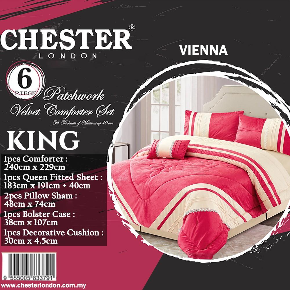 Chester London 6pcs Patchwork Velvet Comforter Set , KING - VIENNA