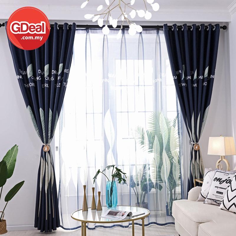 GDeal【Thick Curtains】Leaf Semi-Blackout Curtains Living Room Bedroom Windows Decorative Drapes Langsir (250cm x 100cm)