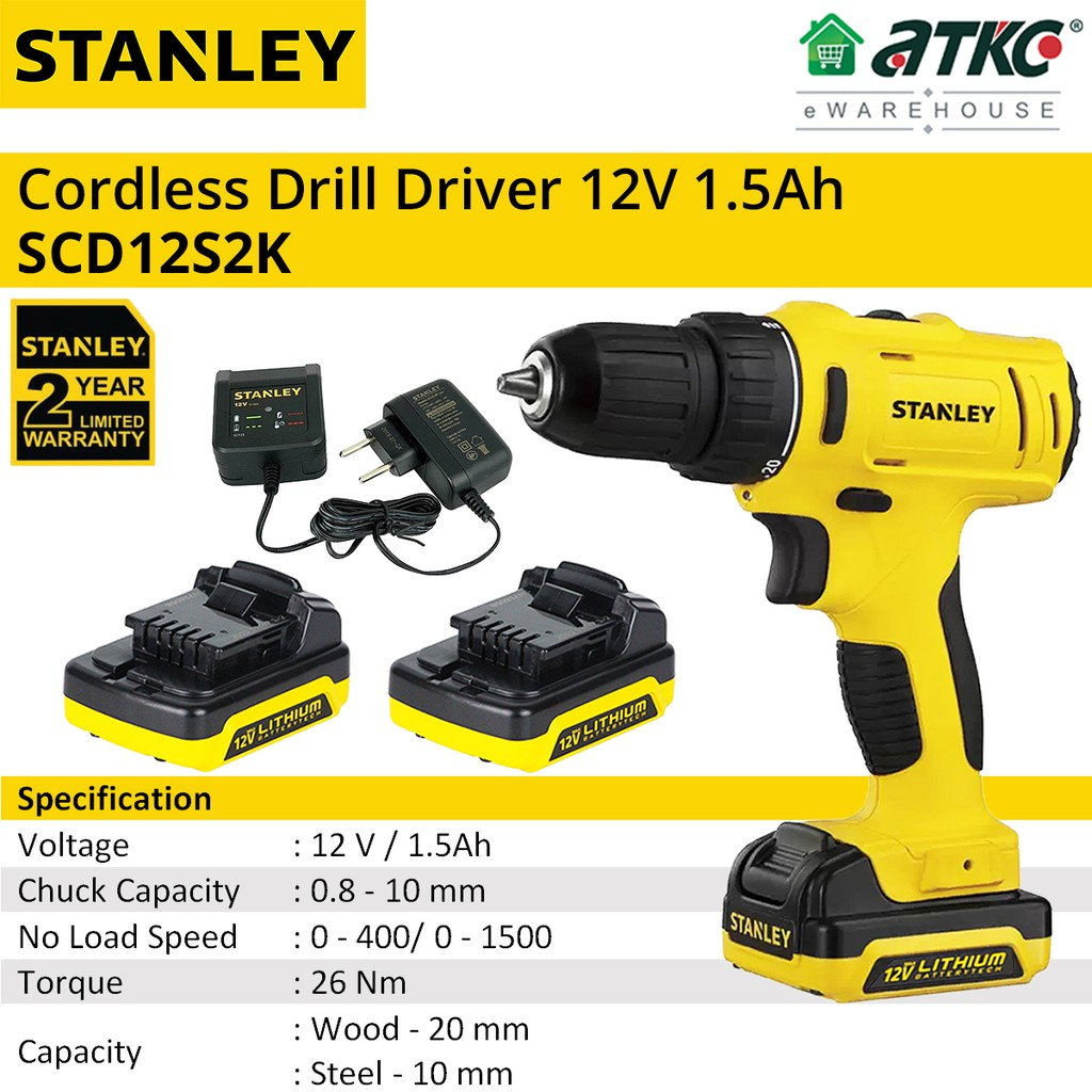 STANLEY SCD121S2K Cordless Drill Driver 12V 1.5Ah (2 YEARS WARRANTY)