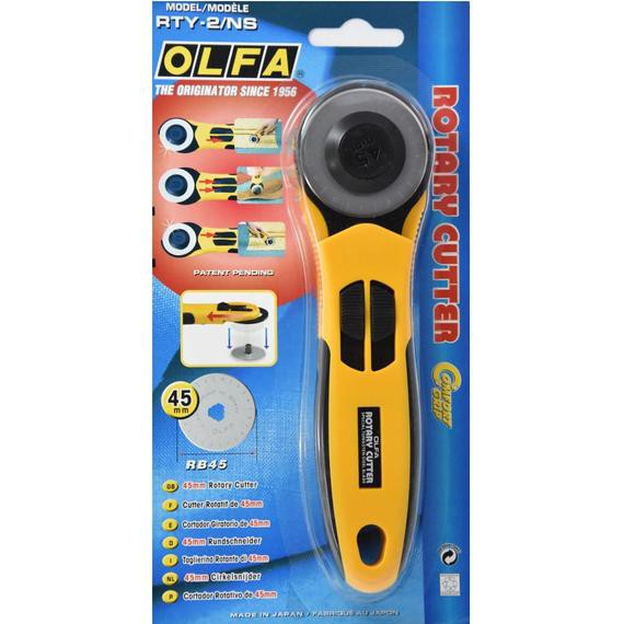 Olfa RTY-2/NS 45mm Rotary Cutter With Rubber Grip/45mm Quick-Change Rotary Cutter