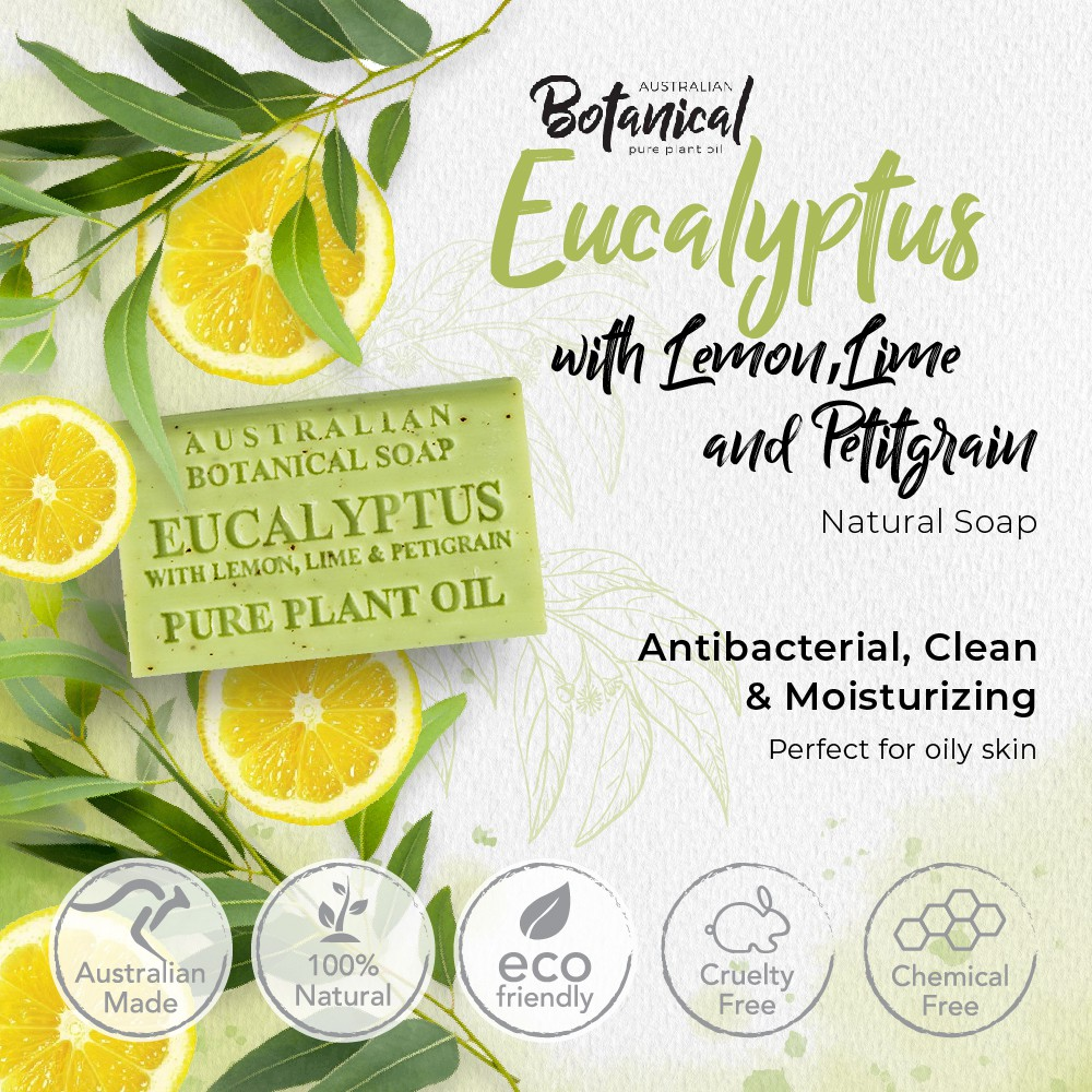 Perfect for Oily Skin,Highly Moisturizing Eucalyptus with Lemon,Lime & Petitgrain 200g Australian Botanical Natural Soap