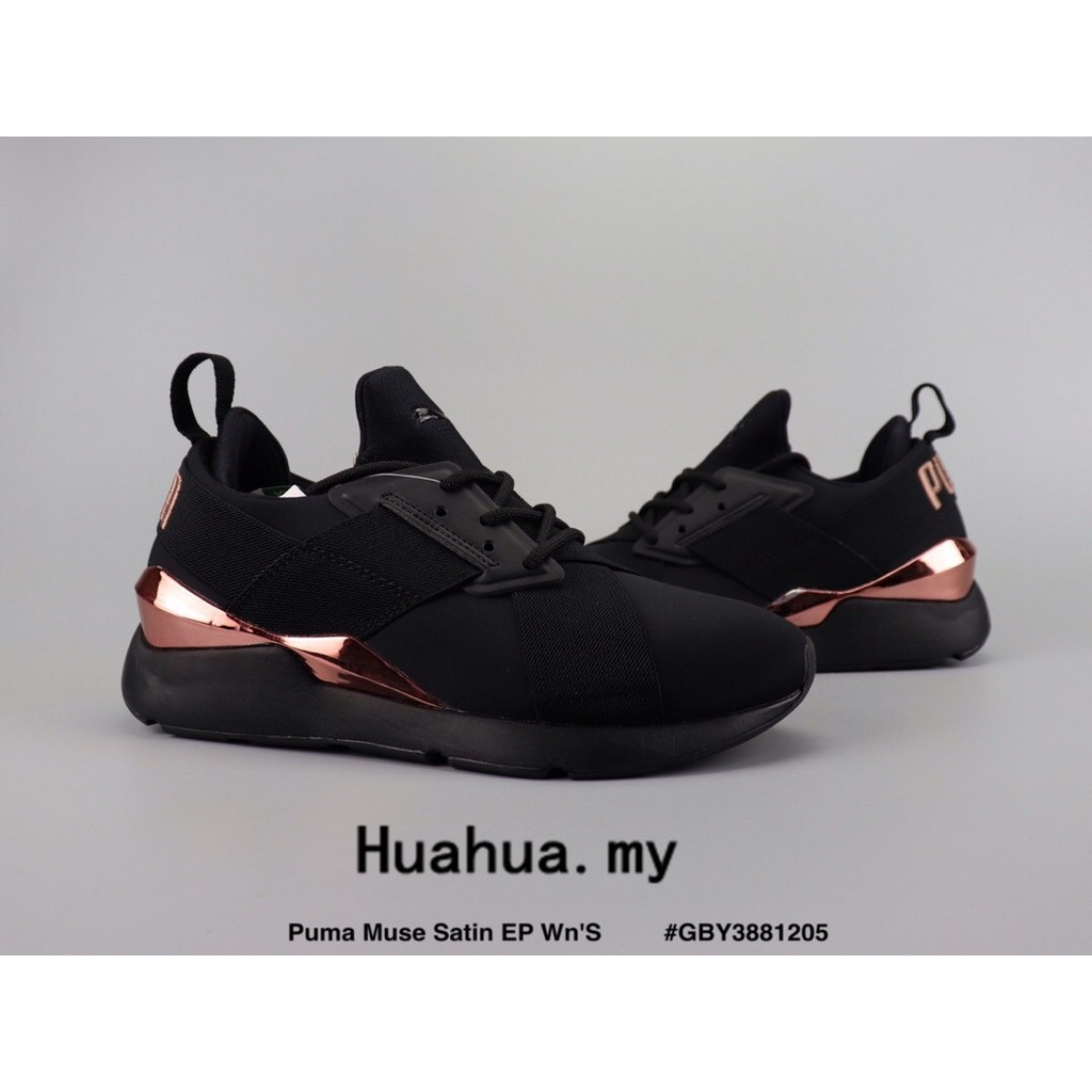 pretty nice 0f14f d3c4d Ready Stock Puma Muse Satin EP Wn'S Light running shoes black