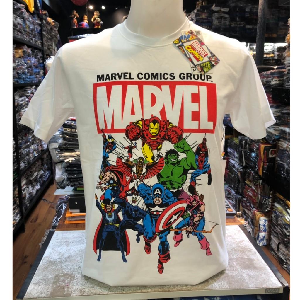 เสื้อยืด มาร์เวล MARVEL ลิขสิทธิ์แท้ (สีขาว..รวมฮีโร่..ลายใหม่ล่าส