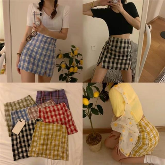 【S~L】Vintage High Waist Skirts 复古高腰格子包臀裙夏季新款气质紫色半身裙女紧身短裙子