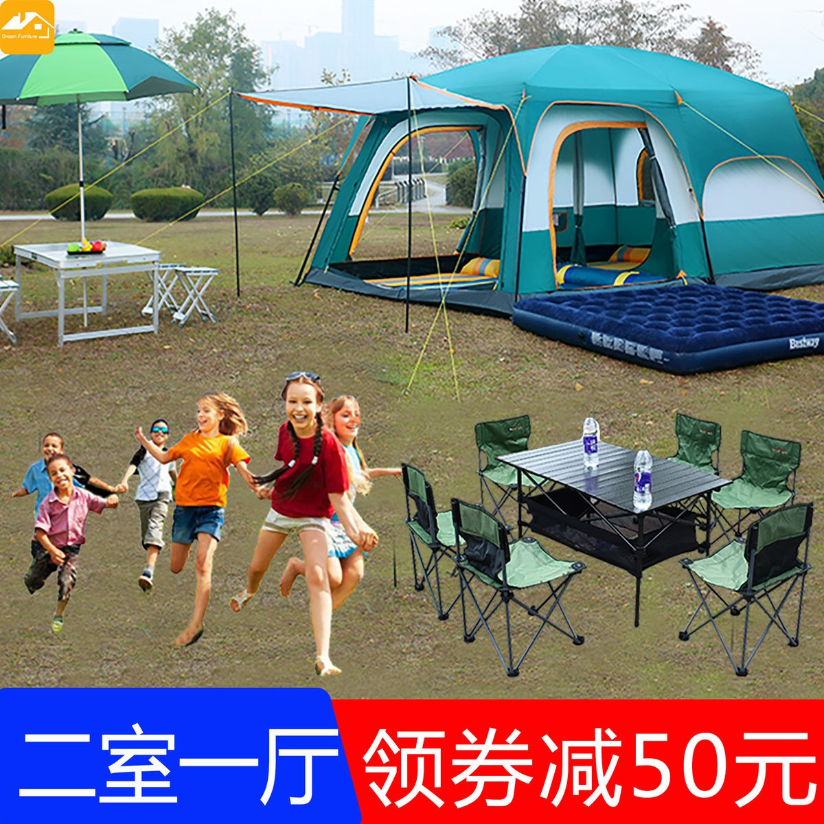Outdoor Thickened 3 4 6 10 People Camping Rainproof 2 Bedroom 1 Living Room Luxury Villa Travel Tent Shopee Malaysia