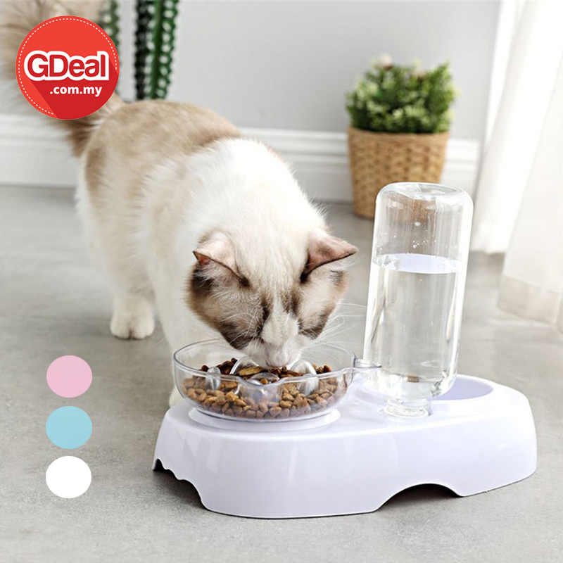 GDeal Pet Cat Dog Food Double Bowl With Automatic Water Renewal Mangkuk Kucing مڠكوك كوچيڠ
