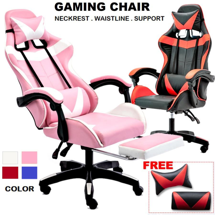 Adjust Height Recline Gaming Racing Computer Office Boss Director Massage Chair Footrest Armrest Headrest / Kerusi
