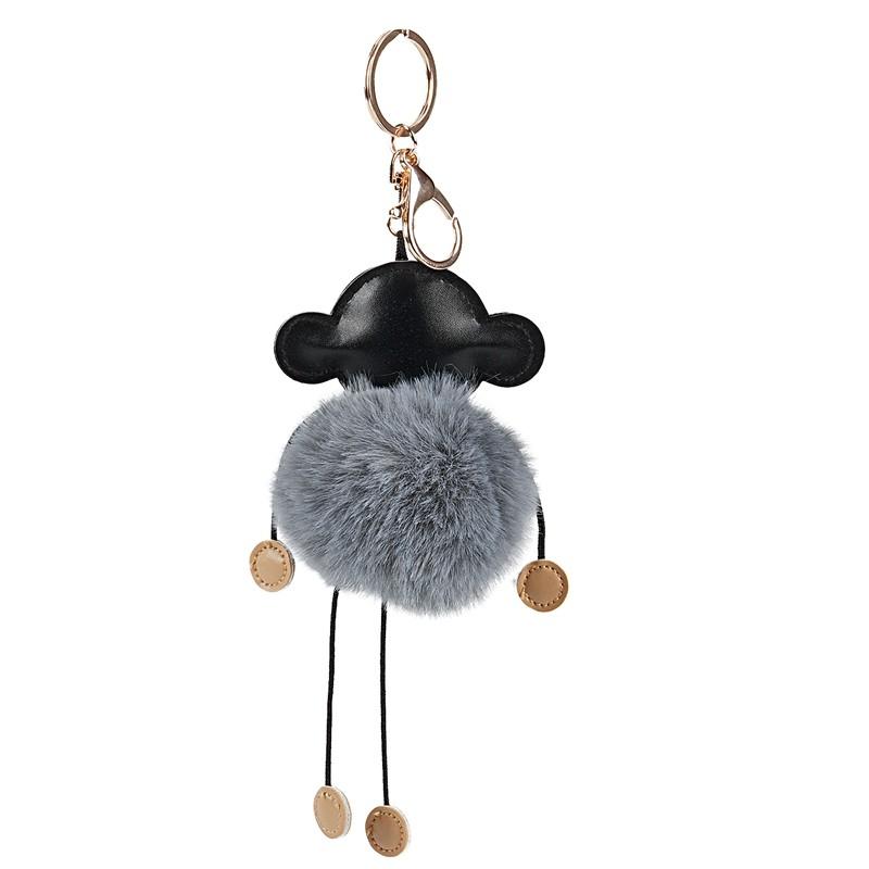 Monkey  Pompom keychain Keyring pendant handbag charm purse bag fluffy gift