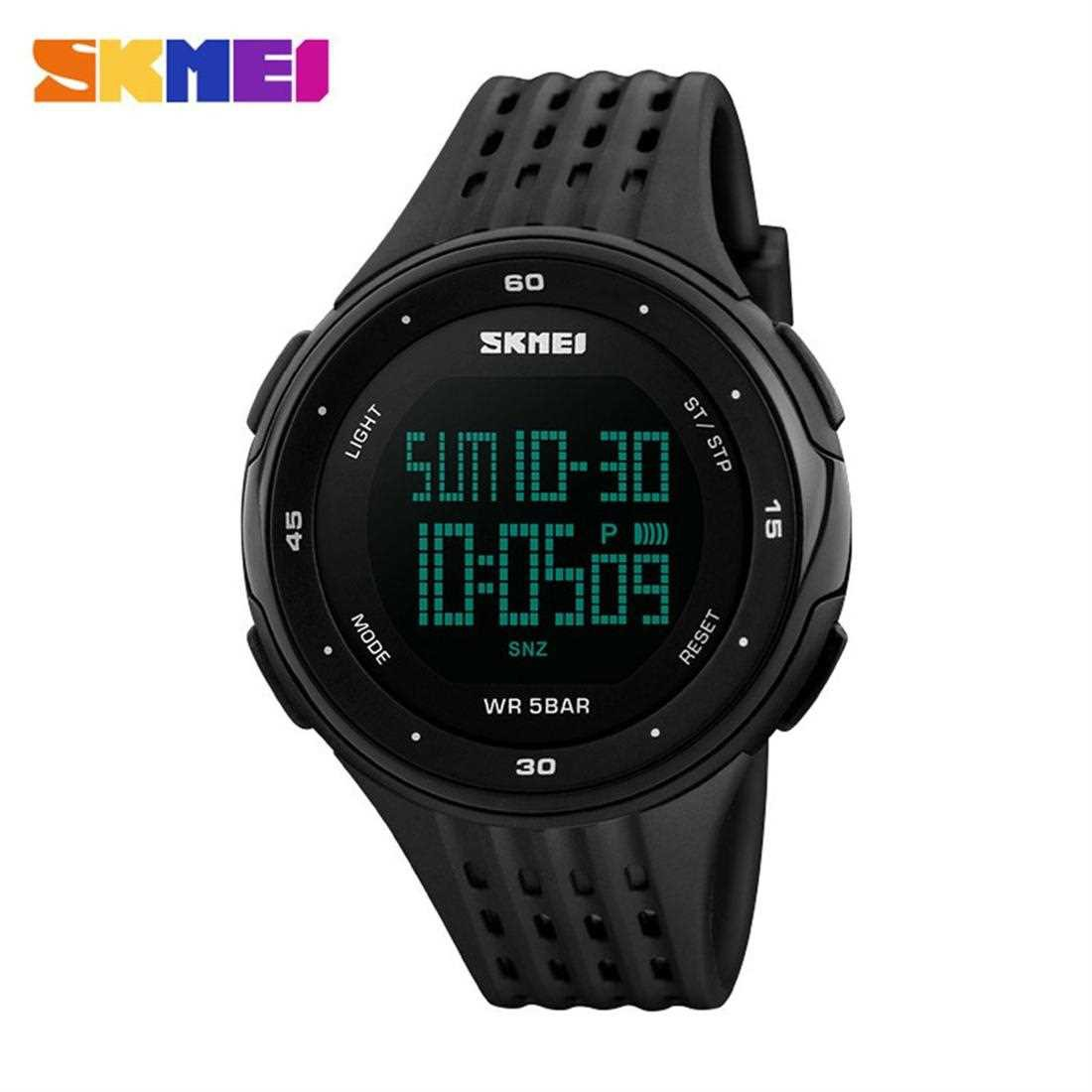 SKMEI 1219 Men Digital Wristwatch 5ATM Waterproof Outdoor Sports Chronograph (Black)