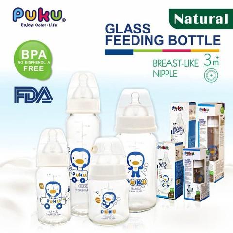 Ready Stock Puku Baby Glass Standard Neck Feeding Milk Bottle 240cc/8oz 實感標準耐熱玻璃奶瓶 P10185