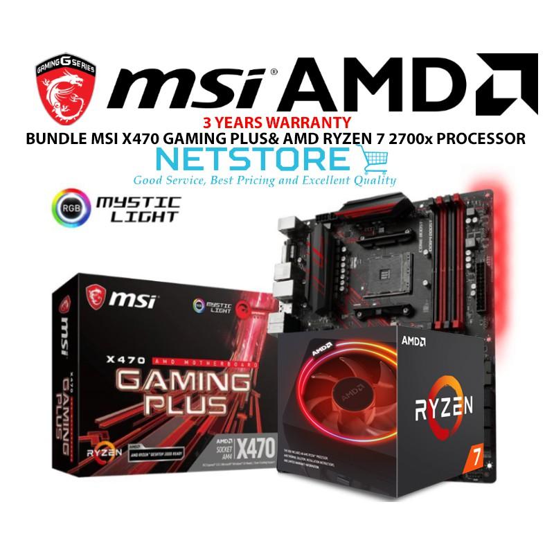 PWP MSI X470 Gaming Plus ATX Motherboard & AMD Ryzen 7 2700X Processor