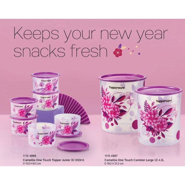 Tupperware Camellia One Touch Topper Junior (6) 600ml & One Touch Canister Large (2) 4.3L (READY STOCK)