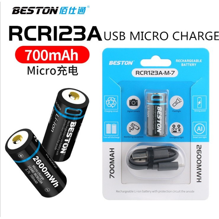 2-Pack High Capacity 650mAh Rechargeable Li-ion Polymer Battery with Micro USB Charging Port BESTON 9V Lithium ion Battery