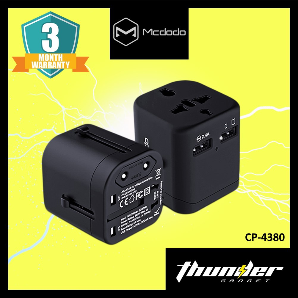 CP-4380 MCDODO UNIVERSAL TRAVEL CHARGER WITH DUAL USB POPTS 6IN1