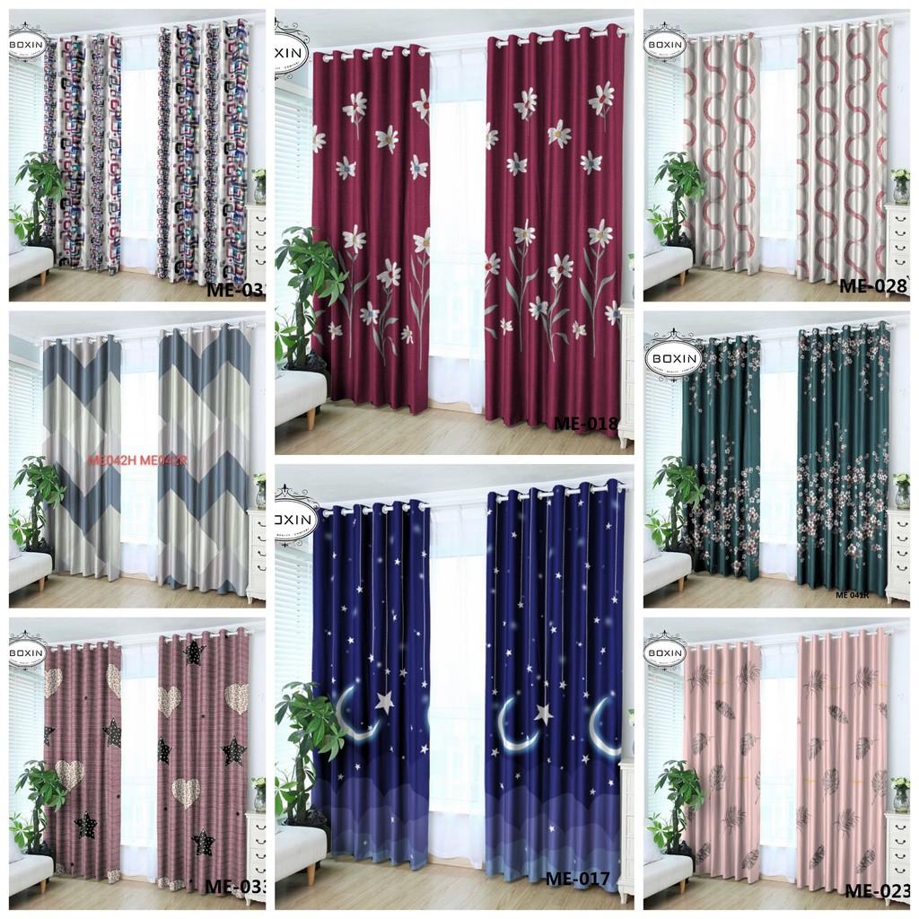 Ring Type Modern Langsir Semi Blackout Thickening Shading Heat Insulation Sliding Door Window Curtain Shopee Malaysia