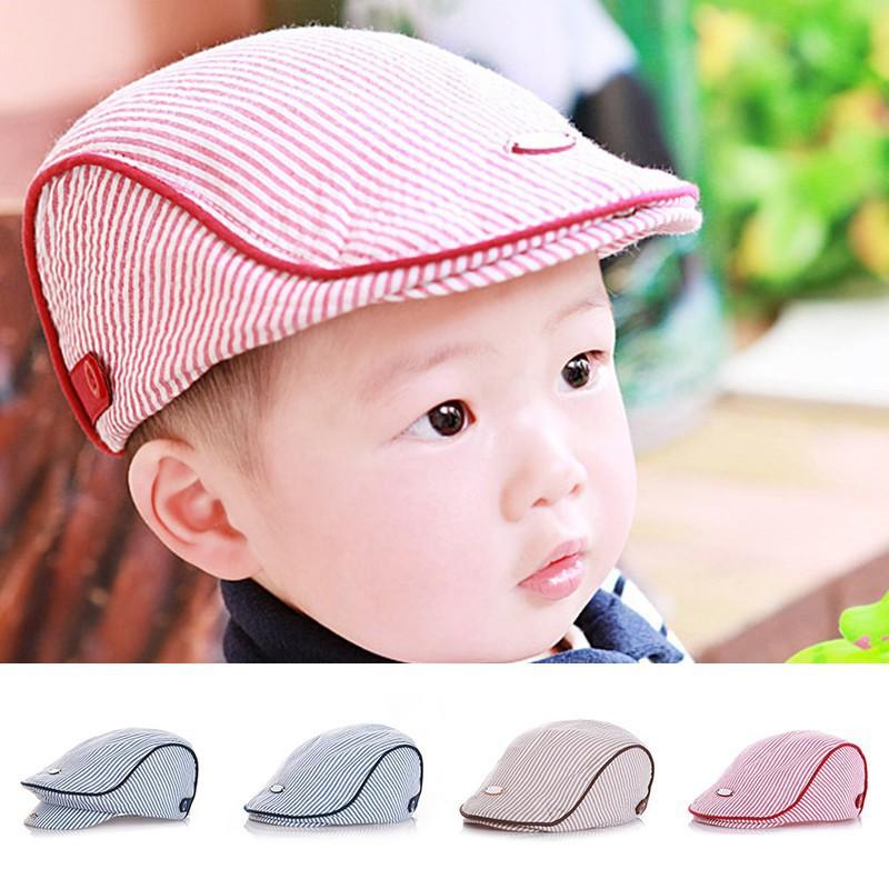 2e9c91ec Xx KO@Cute Baby Kids Boy Girl Stripe Beret Cap Peaked Baseball Hat | Shopee  Malaysia
