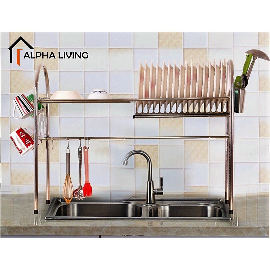 READY STOCK!! High Quality Big Stainless Steel Sink Top Dish Rack Kitchen Dish Drainer KTN0103