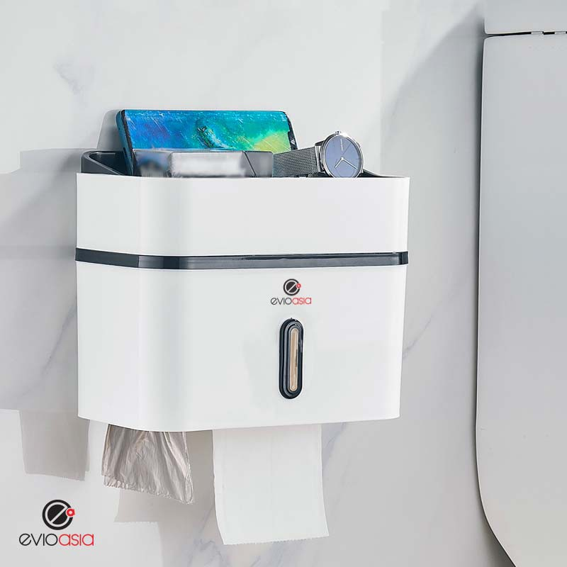 No Drilling Two-Tier Waterproof Toilet Tissue Box with Garbage Bag Organizer Dispenser Wall Mount for Home Office