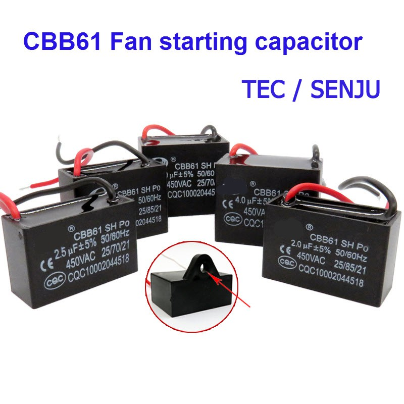 คาปาซิเตอร์ Capacitor พัดลม 1.5UF 1.8UF 2UF 2.5UF 3UF 4UF 5UF 6UF 7UF 8UF 10UF 450V CBB61 อะไหล่พัดลม แคปพัดลม