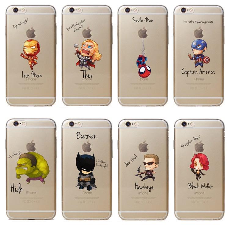 Cartoon Avengers Transparent Phone Case MARVEL Iron Man Captain America Apple Cover for iPhone 6S/7Plus/8/X/XR/XSMax