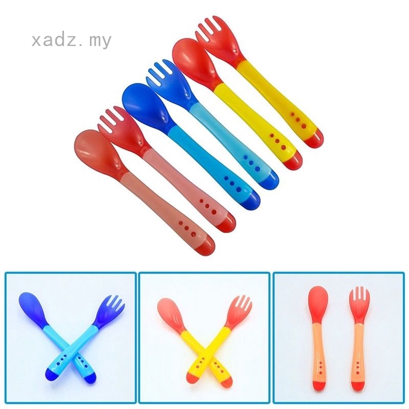 Baby Safety Silicone Temperature Sensing Spoon and Fork Feeding Flatware YN