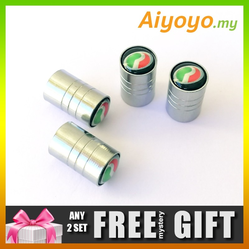 PERODUA 4pcs Car Wheel Tire Valve Stem Air Cap Dust Cover Cylinder Shape