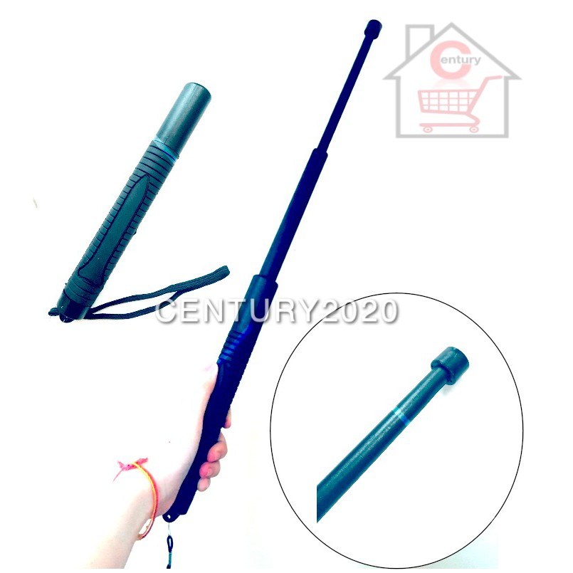 Three Sections Rubber Plastic Telescopic Walking Sticks Portable Retractable Outdoor with Storage Bag Camping Tools