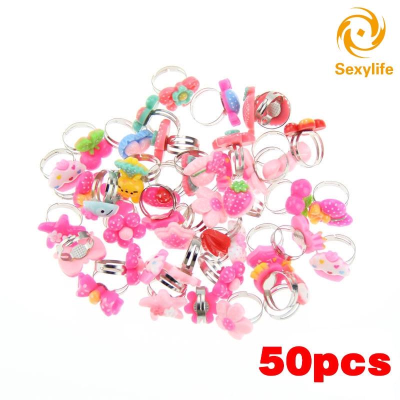 5Pcs Lovely Children Flower Rings Adjustable Jwewlry Kids  Accessories Nice UK