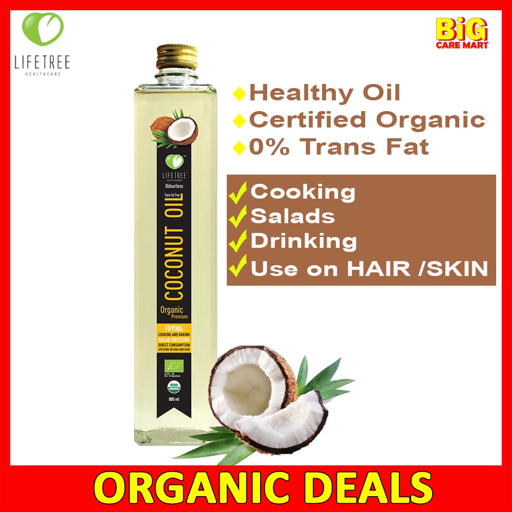 Lifetree Coconut Oil Organic 800ml [No Strong Smell]