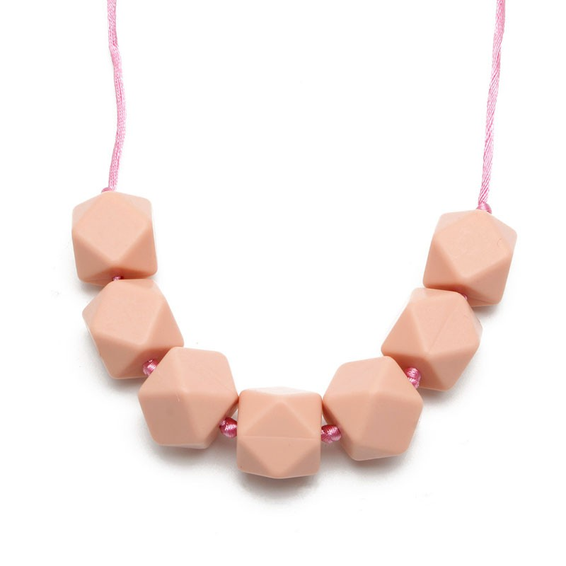 Baby Infant Teething Necklace Teether Chain Cute Charm BPA-Free Beads Silicone W