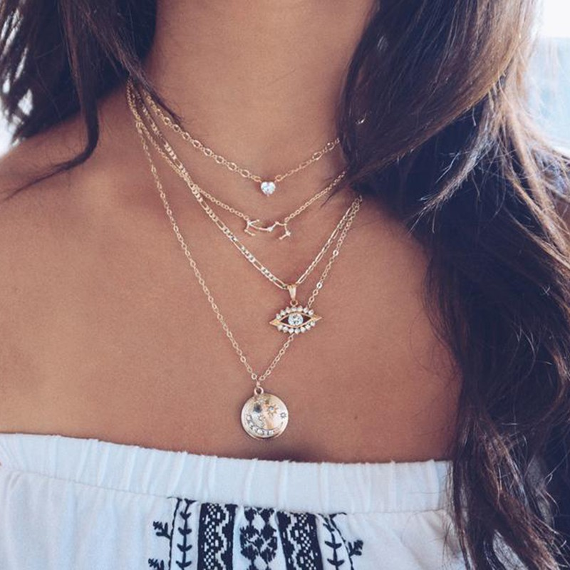 Women Girl Summer Multi-layer Long Boho Chain Choker Pendants Necklace Jewelry