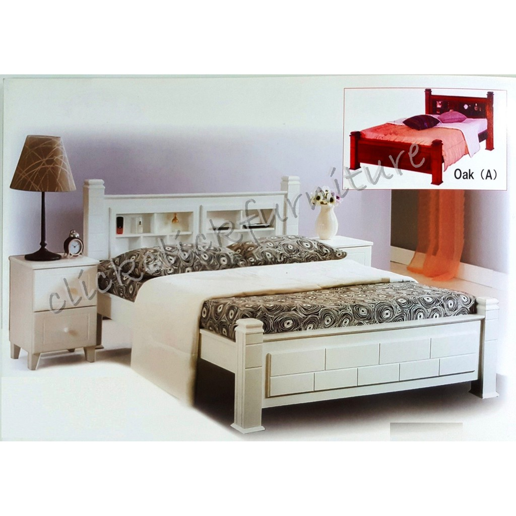 Picture of: Solid Natural Wood Bed Frame With Storage Headboard Queen King Shopee Malaysia