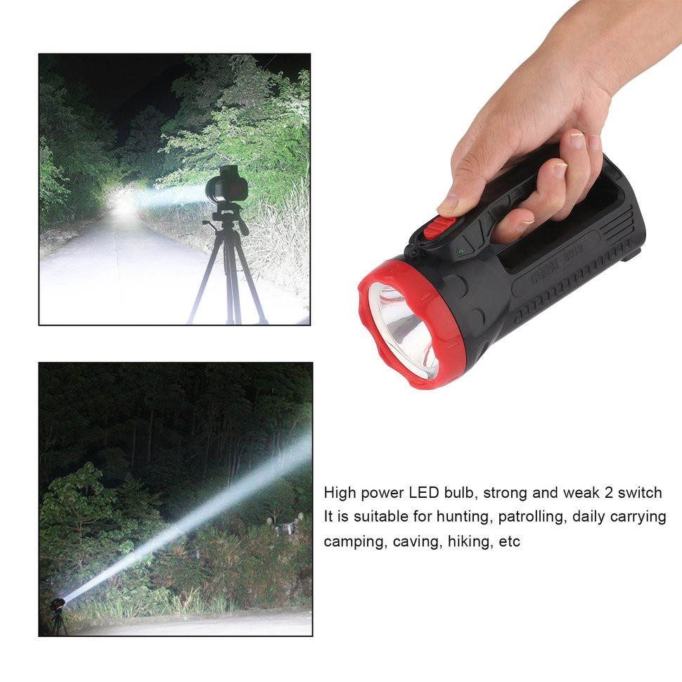 ✔Outdoor LED Bright Charging Strong Light Flashlight Torch Light One Lamp  Head