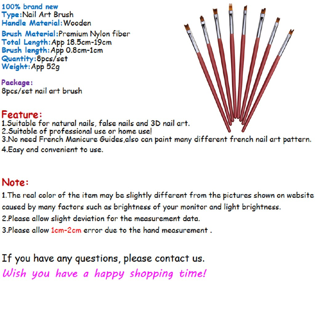 ❥❥8pcs 3D French UV Painting Pen Set Nail Art Brush Manicure