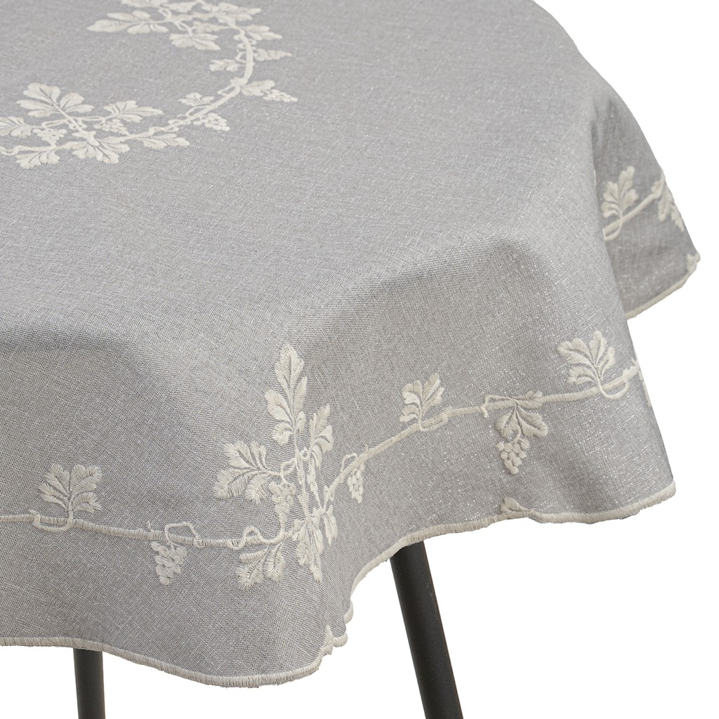 Vineyards Embroidery With White & Silver Thread Weaving Tablecloth. Round/Square  (Grey)