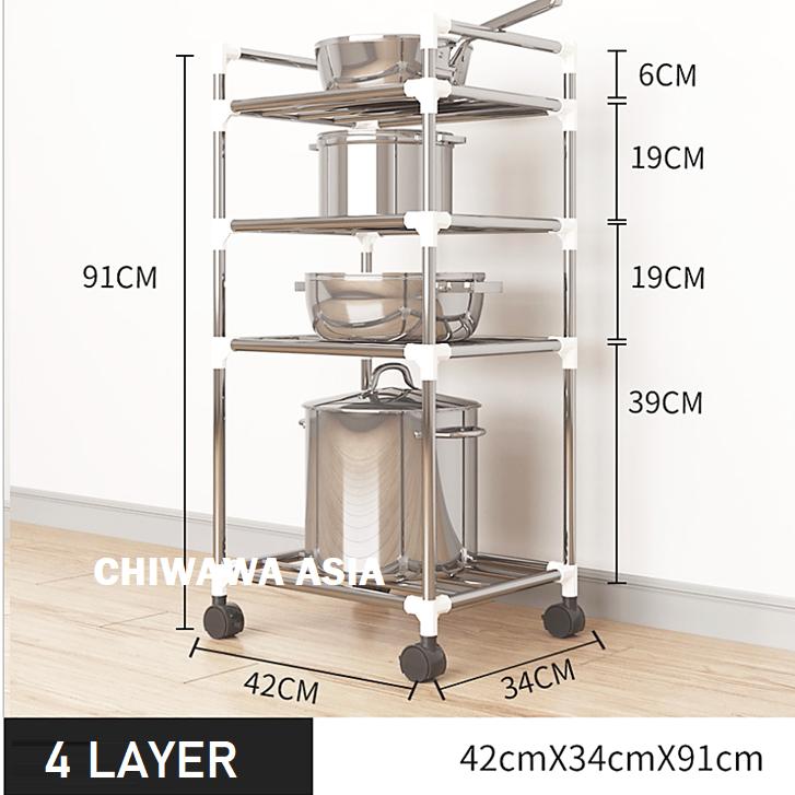 Tier Layer Storage Rack Kitchen Living Trolley Shelf Bathroom Toilet Organizer Cart with Wheel / Rak