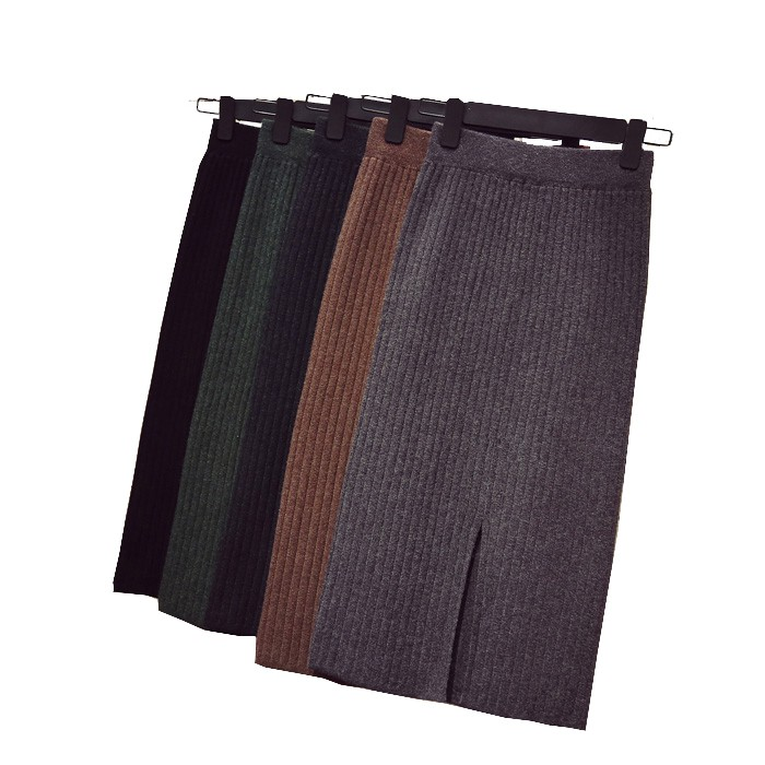 Package Hip Skirt Knitted Skirts Stretch Slim Thin Waist Knee Length Skirts