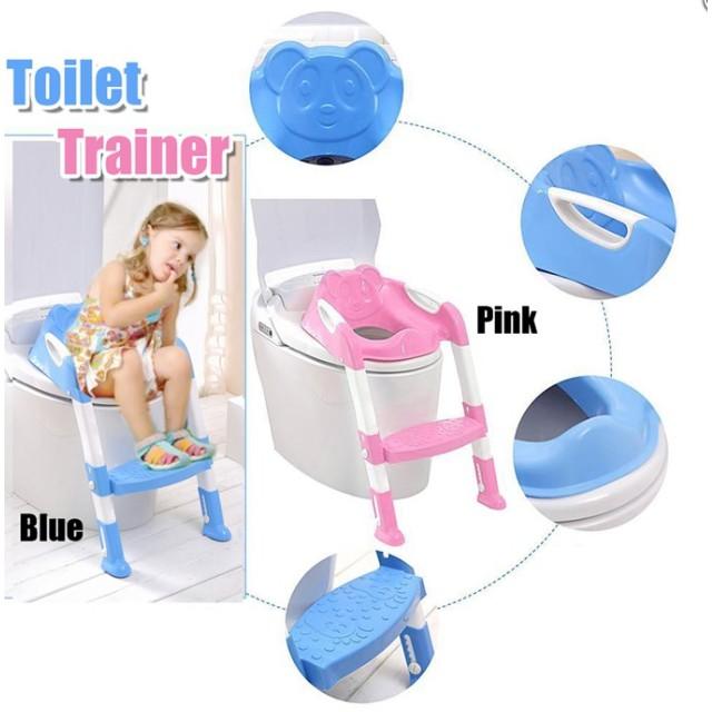 Non Slip Kids Toilet Bowl Seat Ladder Baby Toddler Potty Training Step Trainer