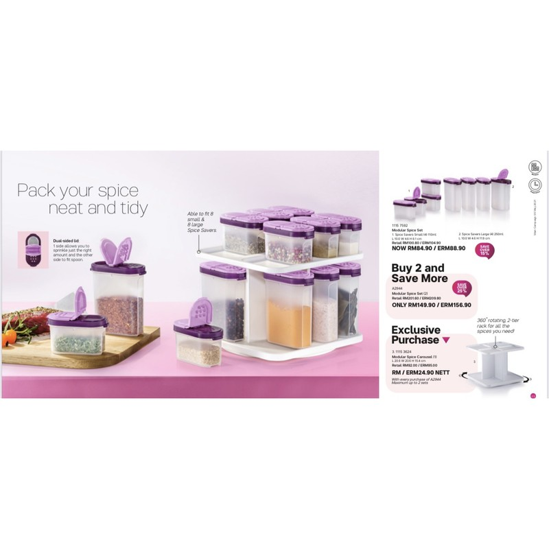 READY STOCK Tupperware Modular Spice Set With Or W/Out Carousel 4Small 4Large