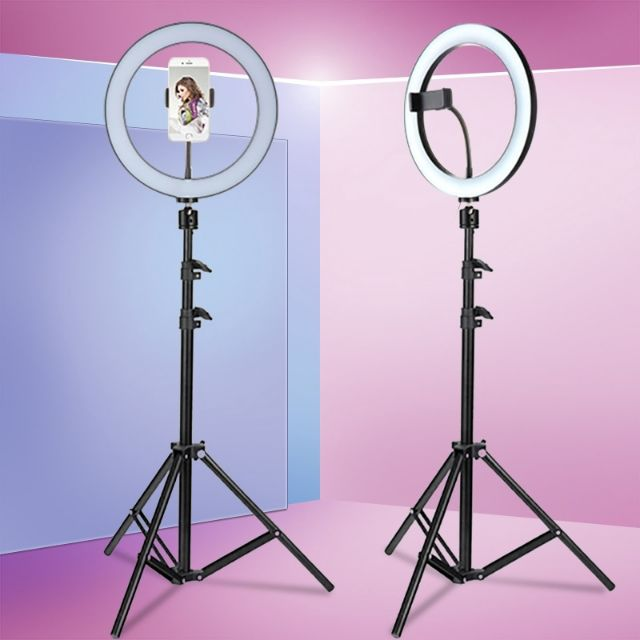 [READY STOCK]10 inch 3 Modes Dimmable LED Ring Light Photography Video Lights & Cold Shoe Tripod Ball Head & Phone Clamp